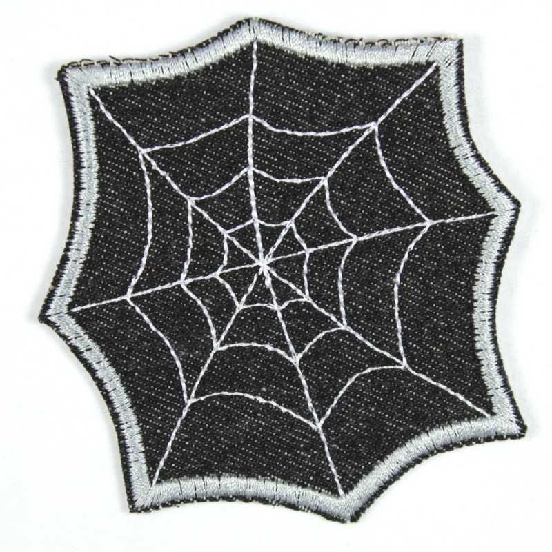 Patches Aufbügeln schwarz 8,5 x 8,5 cm Aufnäher // Bügelbild Spinnennetz