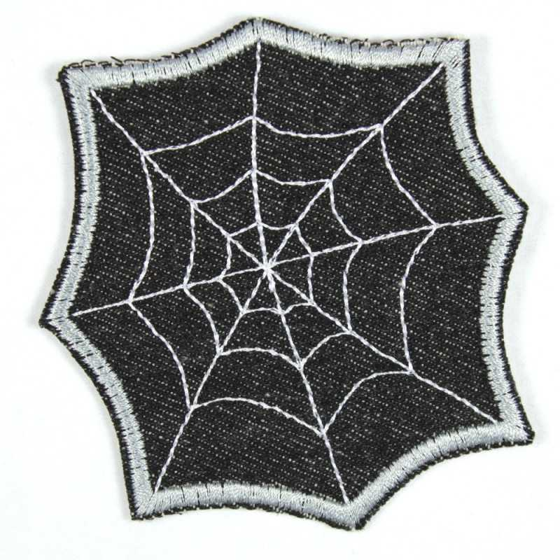 Spider web iron-on image black silver iron-on jeans patches