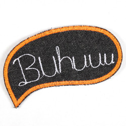 Iron-on patch saying Buhuu black