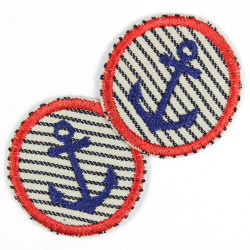 Patch to iron on round embroidered anchor blue red set on light blue with blue stripes 2 small patches