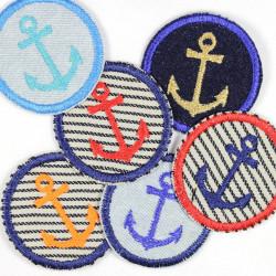 Flicken rund Anker Mix 6 Aubügler 5cm Bügelflicken kleine maritime Bügelbilder Paket für Erwachsene
