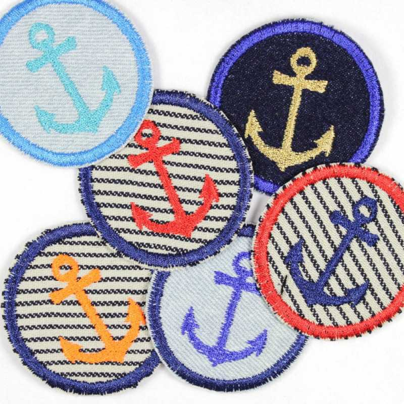 iron-on patches round embroidered anchor on  jeans and stripes set with 6 appliques