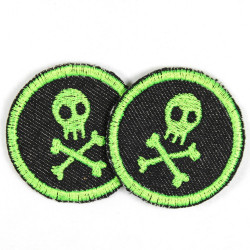 2 round patches with skulls neon green on jeans black tearproof and ideal as a knee patch