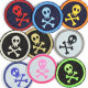 Flickli - the patch! round with skull blue green