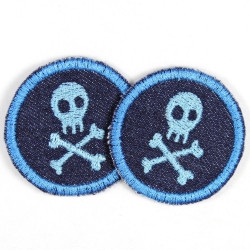 Flickli - the patch! round with skull blue blue