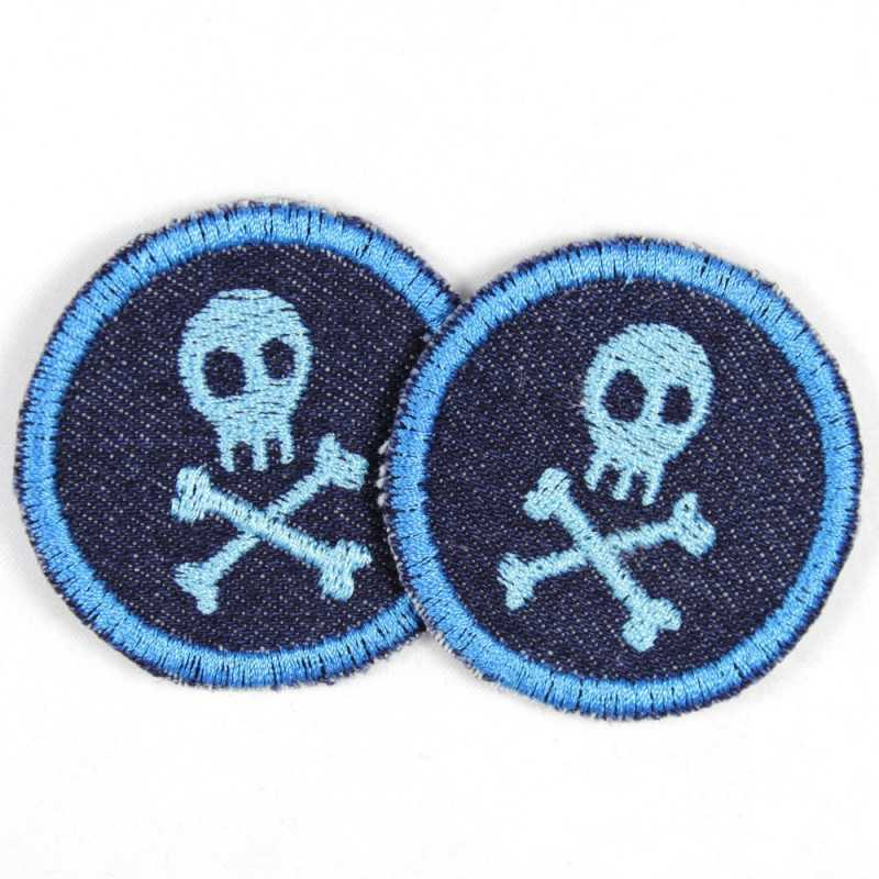 2 patches round with skulls blue on jeans dark blue tearproof and ideal as a knee patch