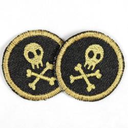 Flickli rund skull gold auf schwarz