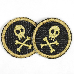 2 round patches with skulls gold on jeans black tearproof and ideal as a knee patch
