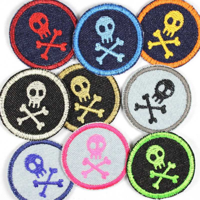 Round patches with skulls on jeans 9 pieces in a mix, tear-resistant cool jeans patches and iron-on transfers