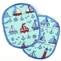 Patches to iron on Set of retro boats and lighthouses, reinforced tear-resistant and ideal as a knee patch