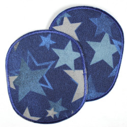 large iron-on patches set retro XL with stars in blue colors strong appliques usable as knee patches