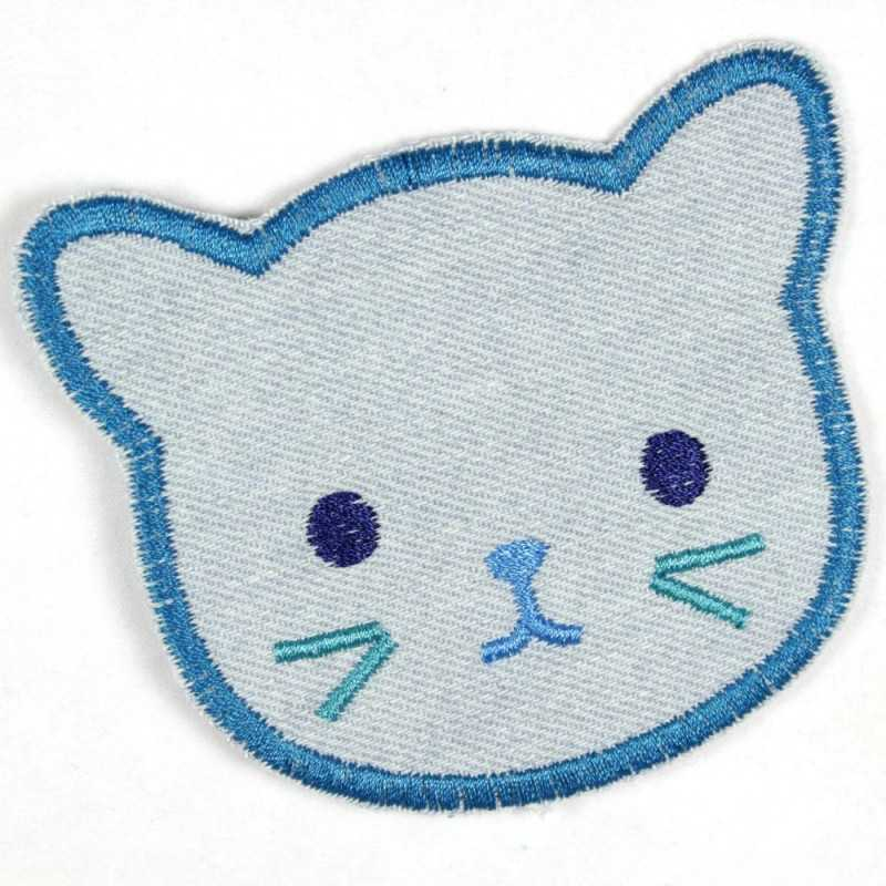 iron-on patches cat light blue denim embroidered applique and badge