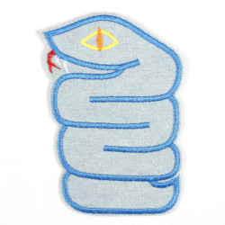 Patch snake light blue made of tear-resistant denim and ideal as knee patches