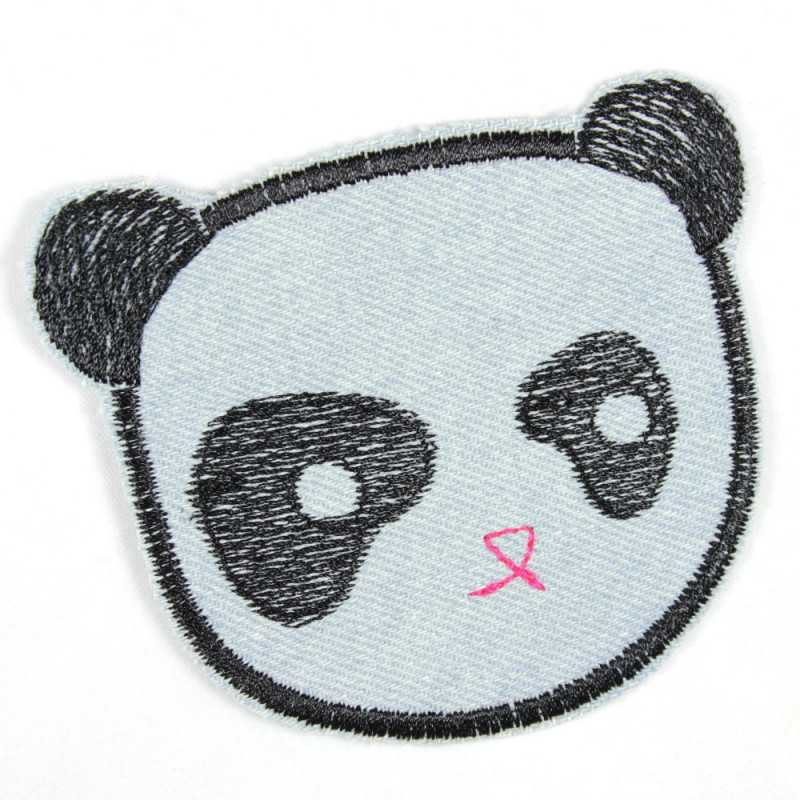 Flickli Panda light blue bear made of tear-resistant denim and ideal as a knee patch