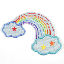 iron-on patches rainbow and clouds on lightblue denim applique and badge iron-on