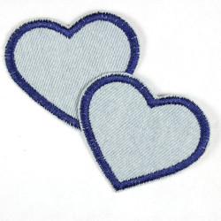 Flickli - the patch! denim hearts light blue and dark blue trim