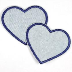 Flickli Herzen Jeans hellblau dunkelblau klein