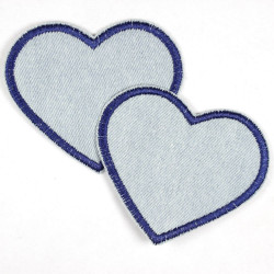 Flickli - the patch! denim hearts light blue and dark blue trim small