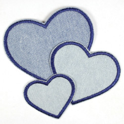 Flickli - the patch! denim hearts light blue and dark blue trim small