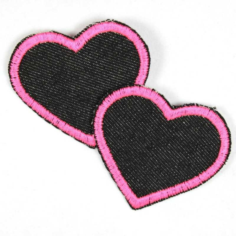 Flickli - the patch! denim hearts black and pink trim