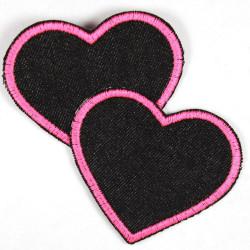 Flickli Herzen Jeans schwarz pink klein