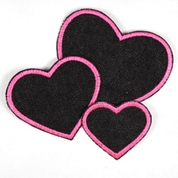 Flickli - the patch! denim hearts black and pink trim small