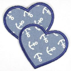 Flickli Herzen Jeans hellblau dunkelblau Anker