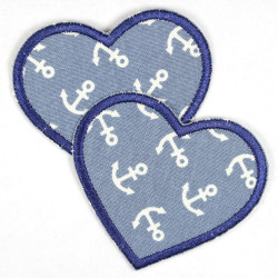 Flickli - the patch! denim hearts light blue and dark blue trim medium