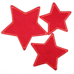 Flickli - the patch! blue corduroy stars 3er set red