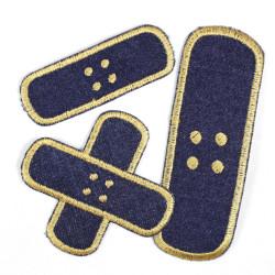 Flickli Pflaster Bügelflicken Jeans dunkelblau gold Set klein mittel groß