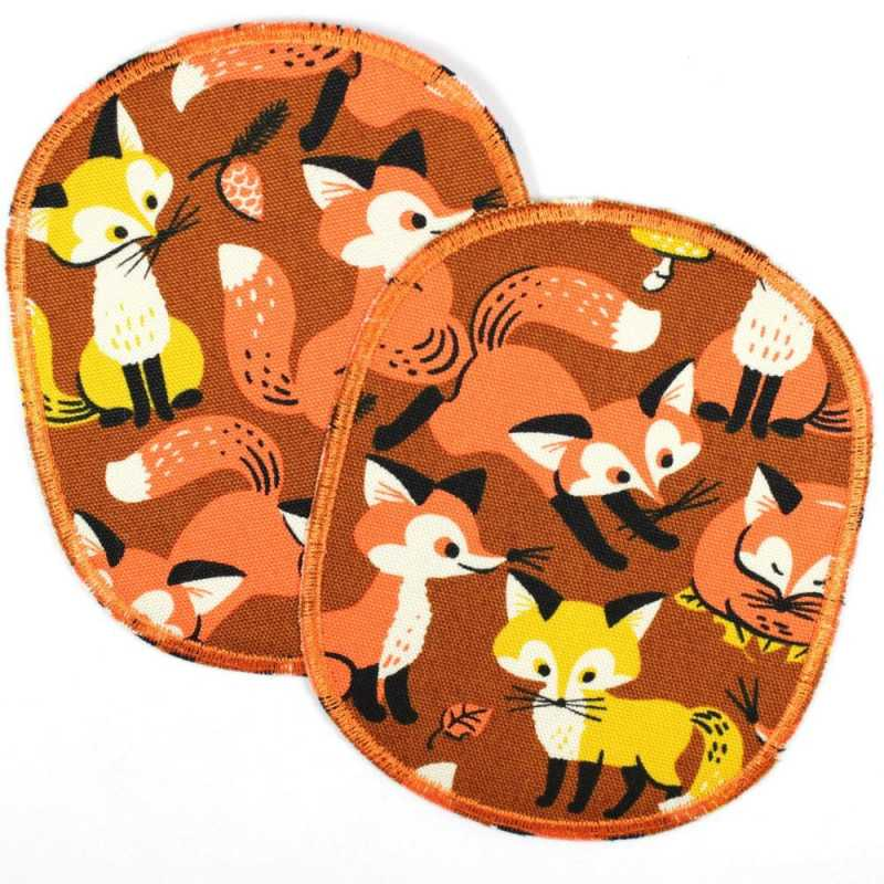 Flickli - the patch! set retro XL with foxes on petrol