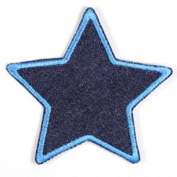Flicken zum aufbügeln Stern Jeans blau blauer Saum Bügelflicken gestickt fester denim Aufbügler