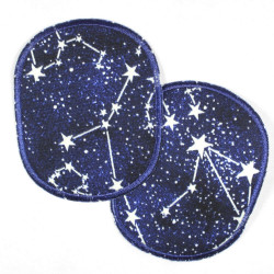 Flickli - the patch! set oval with white stars on black