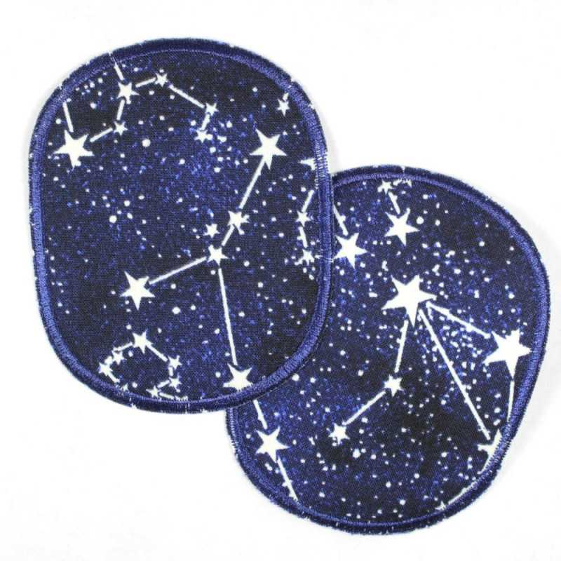 Patch set of retro constellations white on dark blue, glow in the dark, reinforced tear-resistant and ideal as a knee patch