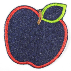 Iron-on patches apple jeans blue, application made of tear-resistant denim material, suitable as knee patches