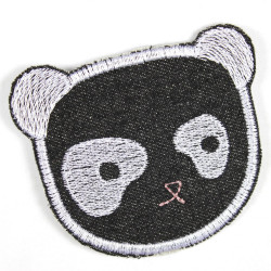 Patch Panda black bear made of tear-resistant denim and ideal as knee patches