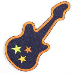 Bügelflicken Gitarre blau Jeans Aufbügler Bügelbild gestickt Applikation zum aufbügeln Accessoires