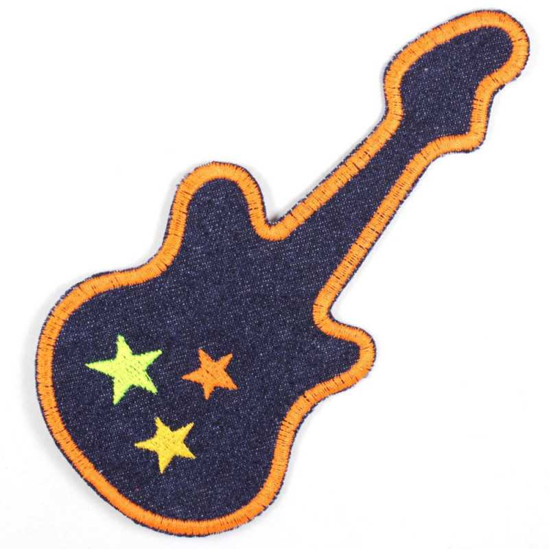 iron-on patches guitar embroidered denim applique stylish accessory blue jeans