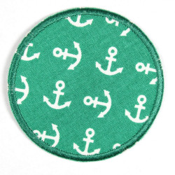 Patches round with white anchors on green, reinforced tear-resistant and ideal as a knee patch