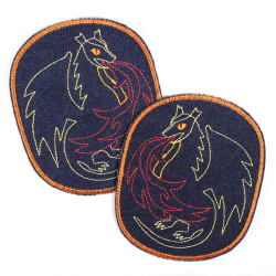 Flickli - the patch! set retro XL with dragon blue denim iron-on-badges