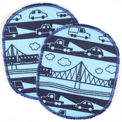 Patch set retro XL car and railroad, tearproof reinforced and ideal as a knee patch
