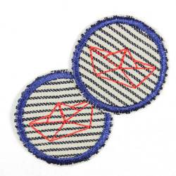 Flickli - the patch! round with red boat on stripes blue trim