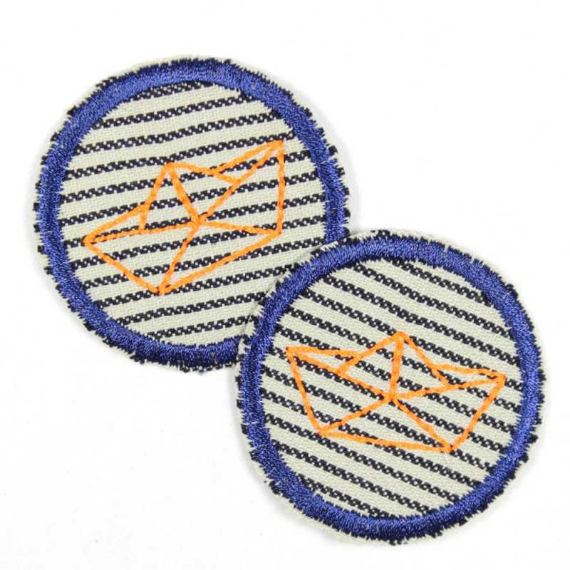 2 patches around folding boat neon orange on stripes blue hem