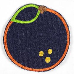 patches orange denim blue