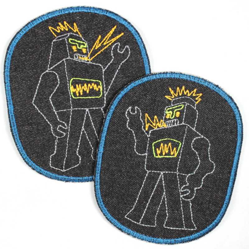 Patch with robot retro XL on jeans black blue border, ideal as a knee patch