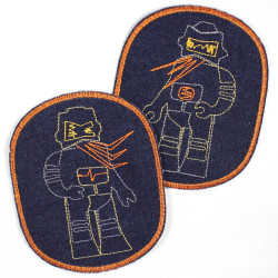 Patch with robot retro XL on jeans blue orange border, ideal as a knee patch
