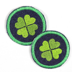 iron-on patches round with clover on blue jeans embroidered shamrock appliques small