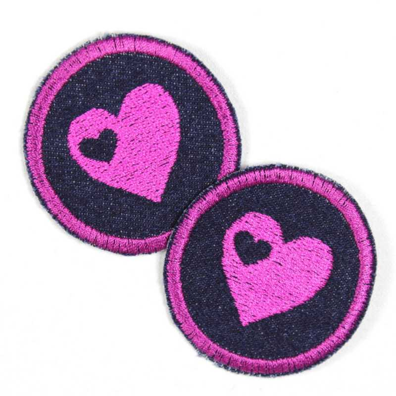 2 round patches with hearts pink on dark blue jeans tearproof cool jeans patch iron-on patches