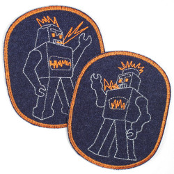 Patch with robot retro XL on organic jeans blue orange border, ideal as a knee patch
