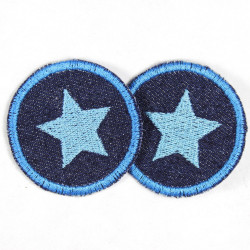 Flicken rund blauem Stern auf blau Jeans Aufbügler kleine 5cm Bügelflicken